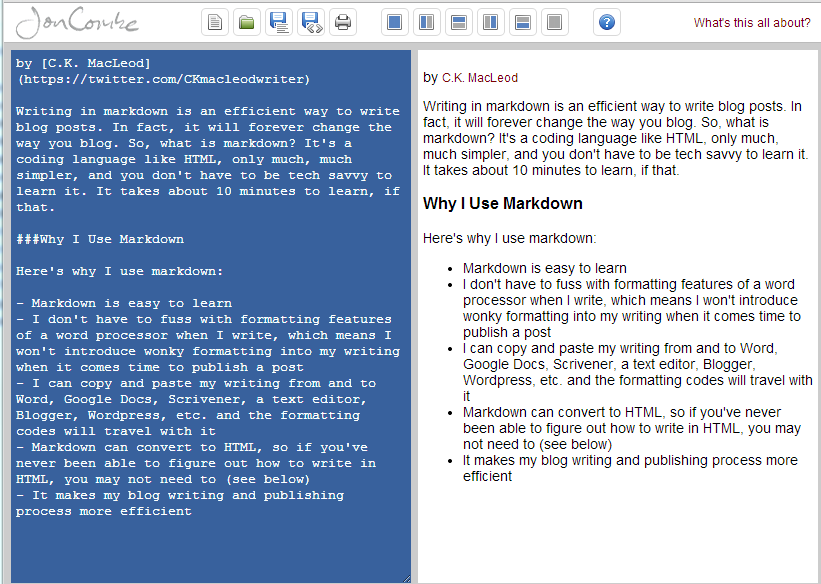 Text written in markdown is on the left; the formatted version is on the right