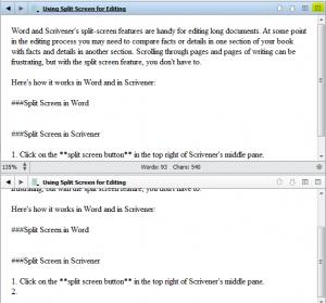Scrivener's split-screen view