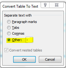 Convert Table to Text dialogue