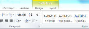 Table Tools in MS Word