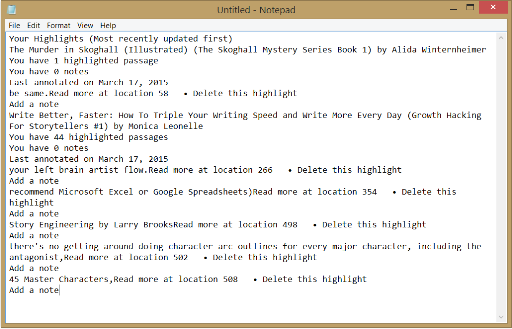 Notes and highlights copied to Notepad (.txt file)