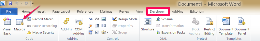 Word's developer tab