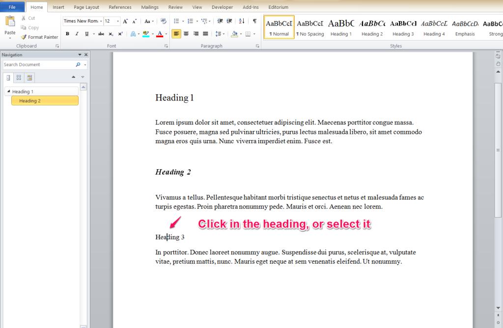 Word keyboard shortcuts for headings