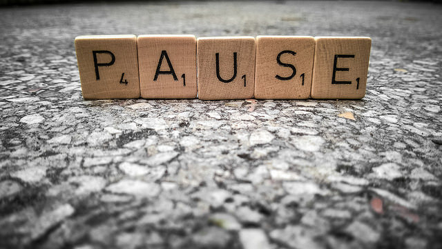 Pause with Scrabble tiles
