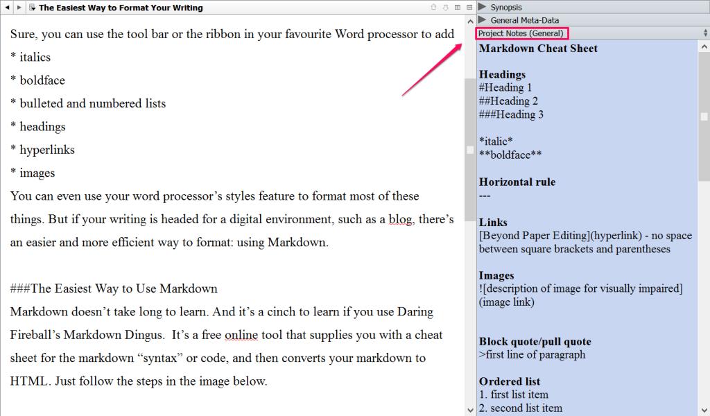 Markdown cheatsheet Scrivener