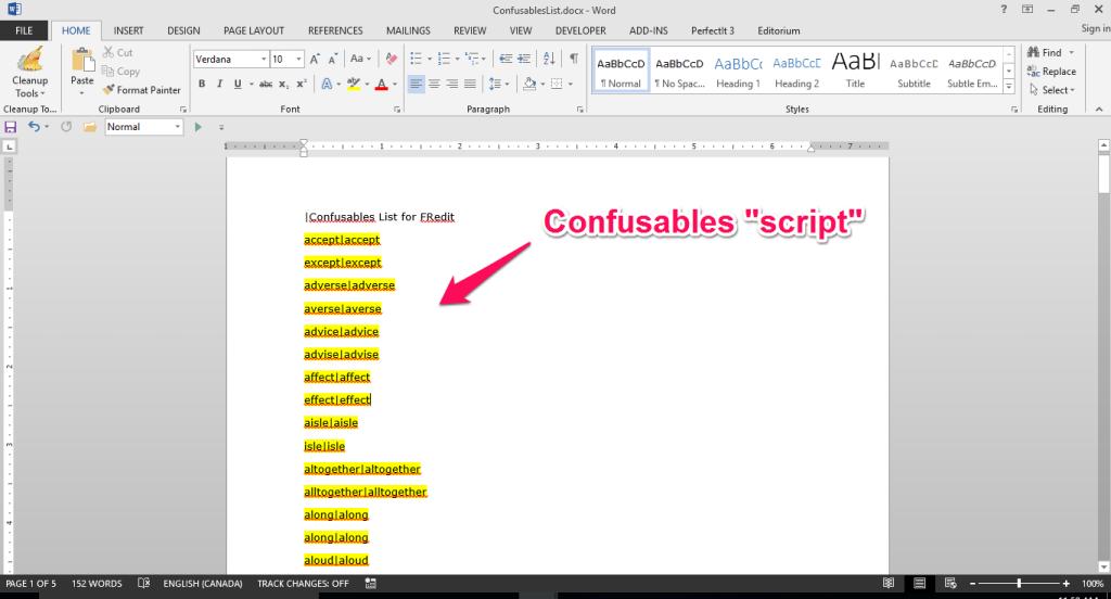 Confusables script