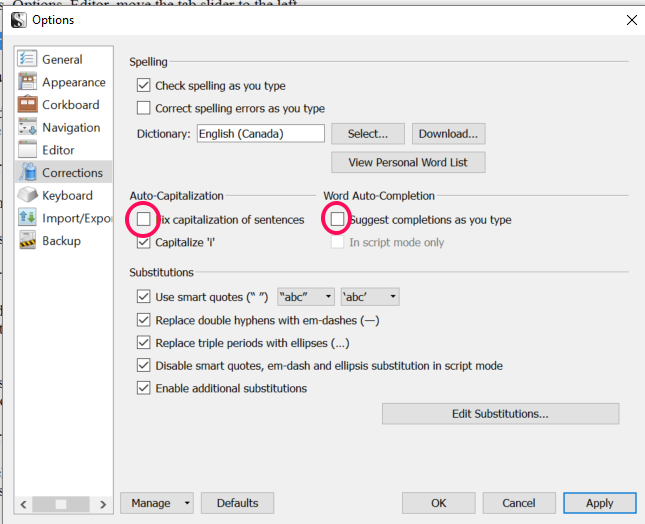 Turn off autocompletion and capitalization