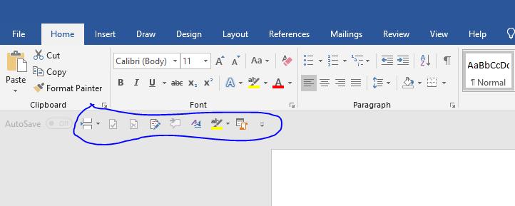 Image of CK's Quick Access Toolbar